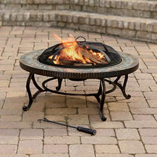 "Pleasant Hearth 34"" Elizabeth Natural Slate Fire Pit with Copper Accents"