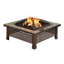 "Pleasant Hearth 34"" Bradford Natural Slate Square Fire Pit"