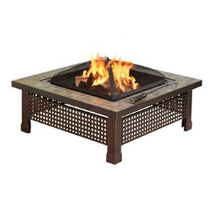 Pleasant Hearth Bradford Natural Slate Square Fire Pit with Copper Accents - 34""