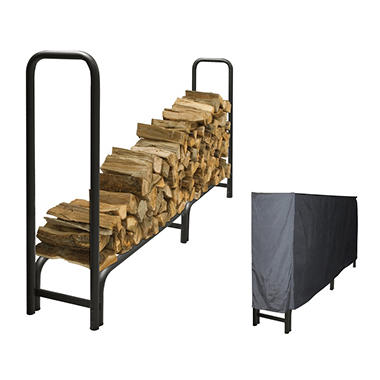 Pleasant Hearth Heavy Duty Log Rack with Full Cover - 8'