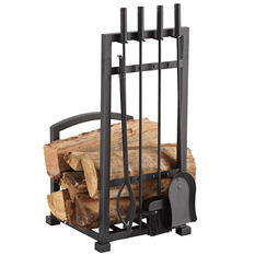 Pleasant Hearth Harper 4-Piece Log Tool Set and Log Holder