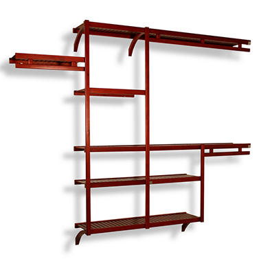 Solid Wood Reach-In Closet Organizer - Mahogany