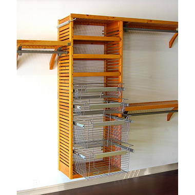 Deluxe Honey Maple Packaged Closet System