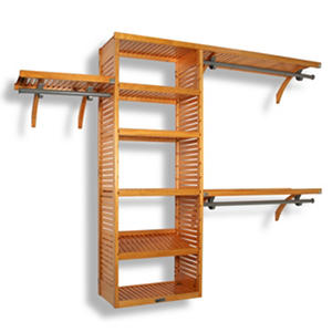 Solid Wood Honey Maple Walk-In Closet Organizer