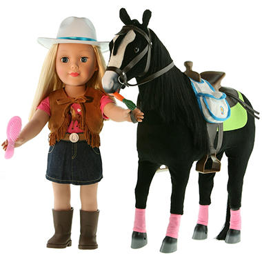 Paradise Horses Doll & Horse Playset - Blonde Girl & Black Horse