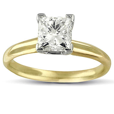 1.0 ct. Princess Diamond Solitaire Ring (I, I1)