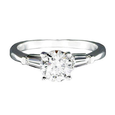 1 ct. Round Diamond Ring w/ Baguettes (I, SI2)