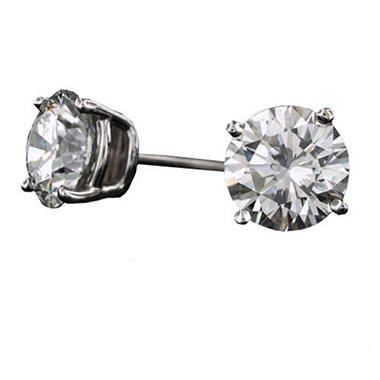 3.10 ct. t.w. Round Diamond Stud Earrings in 18k White Gold (G, VS2-SI1)