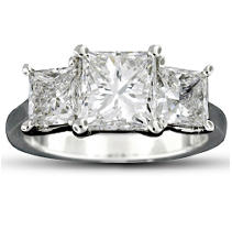 3.43 ct. t.w. Princess Diamond Ring in Platinum (E-F, VS1-SI2)