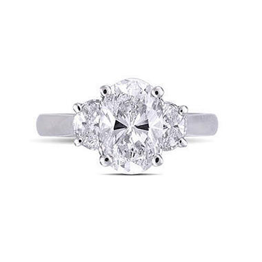 2.78 ct. t.w. Oval Diamond Ring in Platinum (E, VS2)