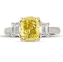 2.75 ct. t.w. Cushion-Cut Yellow Diamond Ring in Platinum (Vivid Yellow, SI1)