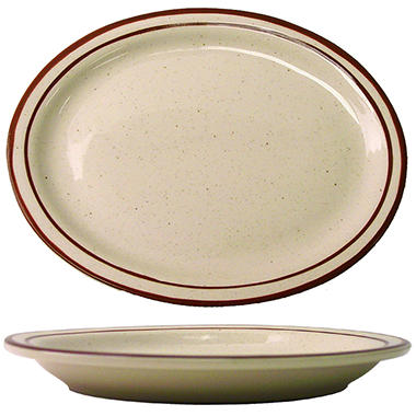 "Granada 9 3/4"" Brown Narrow Rim Platter  - 24 pk."