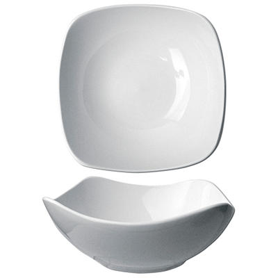 "Quad 8 1/2"" 46 oz. Porcelain Square Bowl - 12 pk."