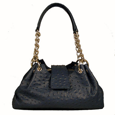 Isabella Adams Rebecca Leather Ostrich Embossed Satchel - Midnight Blue