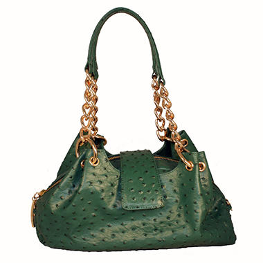 Isabella Adams Ostrich Embossed Leather Rebecca Bag in Kelly Green
