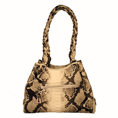 Isabella Adams Kelly Leather White Python Embossed Tote