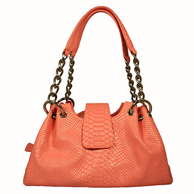 Isabella Adams Ostrich Embossed Leather Rebecca Bag - Pink