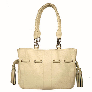 Isabella Adams Ostrich Embossed Leather Drawstring Tote Bag - White