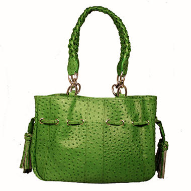 Isabella Adams Ostrich Embossed Leather Drawstring Tote Bag - Green