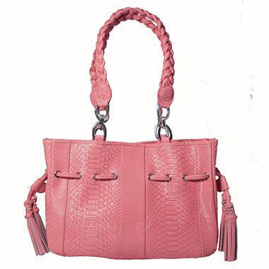 Isabella Adams Python Embossed Ostrich Drawstring Tote Bag - Pink