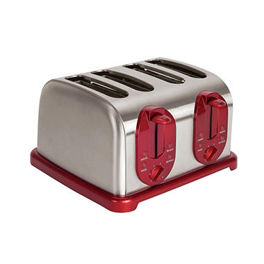Kalorik Stainless Steel 4-Slice Toaster - Red