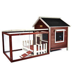 "Advantek Rabbit Hutch, White Picket Fence (58"" x 30"" x 33"")"