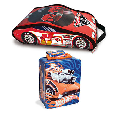 Hot Wheels ZipBin Racer Backpack (w/car) & Hot Wheels 18 Car Tin Combo