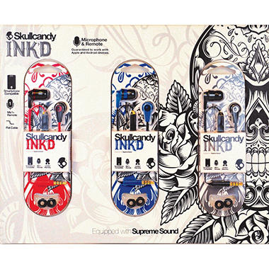 Skullcandy 3-Pack Ink'd Earbuds with Microphone