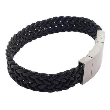 GENTS BRACELET LEATHER - ST.STEEL