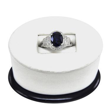 LAB SAPPHIRE RING .25TW DIAMOND-925