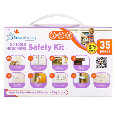 Dreambaby Adhesive Household Safety Kit, No Tools & No Screws (35 pcs.)