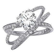 1.00 ct. t.w. Criss-Cross Round Diamond Engagement Ring in 14k White Gold (H-I, I1)