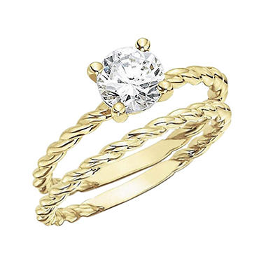 .50 CT. Diamond Solitaire Twisting Band Engagement Set (H-I, I1)