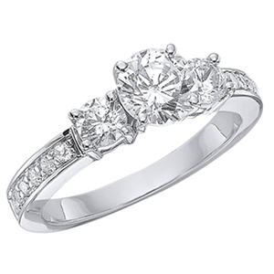 1.24 CT.T.W. Three-Stone Diamond Engagement Ring in 14K White Gold  (H-I, I1)