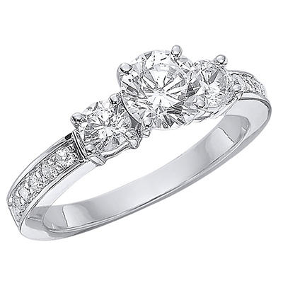 1.24 CT.T.W. Three-Stone Diamond Engagement Ring in 14K White Gold  (H-I, I1)