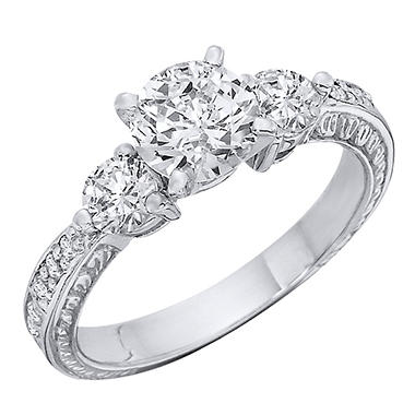 1.09 CT.T.W. Three Stone Antique-Style Diamond Engagement Ring (H-I, I1)