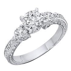 1.09 CT.T.W. Three Stone Antique-Style Diamond Engagement Ring (H-I, I1)