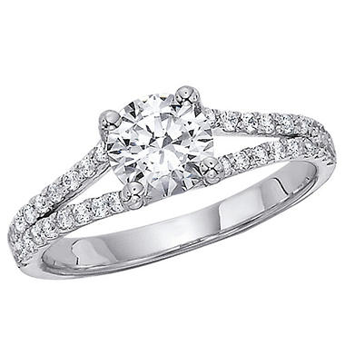 1.00 CT.T.W. Split Shank Diamond Engagement Ring in 14K White Gold (H-I, I1)