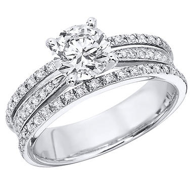 1.15 CT.T.W. Three Row Diamond Engagement Ring in 14K White Gold (H-I, I1)