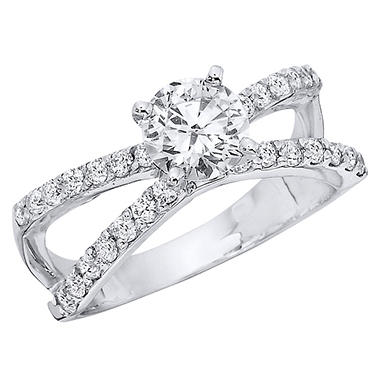 1.30 CT.T.W. Split Shank Diamond Engagement Ring in 14K White Gold (H-I, I1)