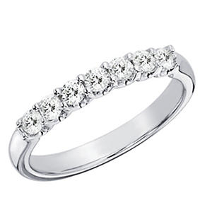 0.50 CT.T.W. 7-Stone Shared Prong Diamond Anniversary Band in 14K White Gold (H-I, I1)