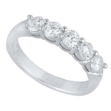 0.50 CT.T.W. 5-Stone Shared Prong-Set Diamond Anniversary Band in 14K White Gold (H-I, I1)