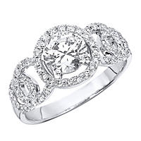 "1.40 CT.T.W. ""Circles"" Diamond Engagement Ring in 14K White Gold (H-I, I1)"