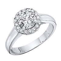 1.00 CT.T.W. Heavenly Halo Diamond Solitaire Ring in 14K White Gold (H-I, I1)
