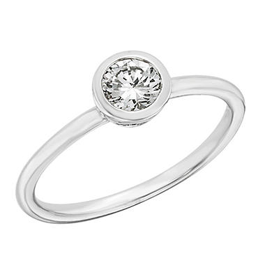 0.50 CT.T.W. Bezel Set Diamond Engagement Ring in Platinum (H-I, I1)