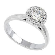 0.65 CT.T.W. Halo Diamond Solitaire Ring in 14K White Gold (H-I, I1)