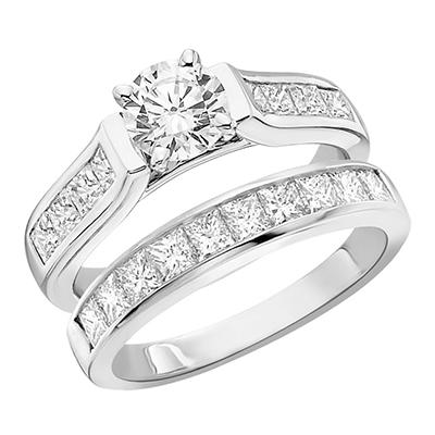 1.10 CT.T.W. Princess Diamond Wedding Set in 14K White Gold (H-I, I1)