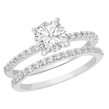 1.10 CT.T.W. Shared Prong Diamond Wedding Set in Platinum (H-I, I1)