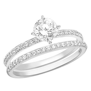 1.00 CT.T.W. Diamond Engagement Set in Platinum (H-I, I1)