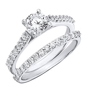 1.20 CT.T.W. Shared Prong Diamond Wedding Set in Platinum (H-I, I1)